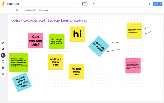 Screenshot of an online whiteboard with several sticky-notes and hand-drawn doodles